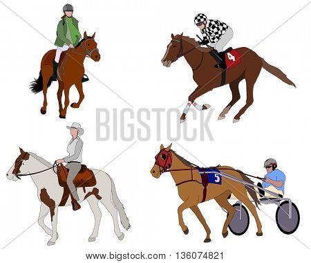 people riding horses illustration