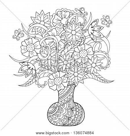 Hand drawn tangled flowers in the wase. Image for anti stress adult and children coloring book tattoo engraving etching embroidery decorate t-shorts tunics bags porcelain ceramics cups crockery dishes. eps 10