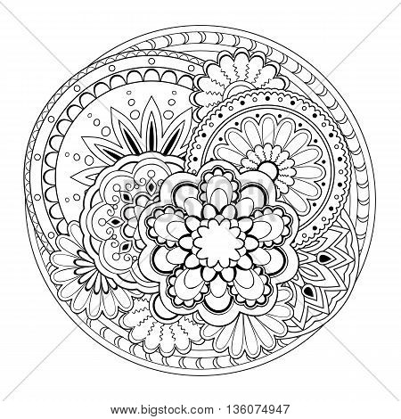 Hand drawn tangled mandalas. Image for adult coloring book tattoo decorate porcelain ceramics crockery plates. eps 10