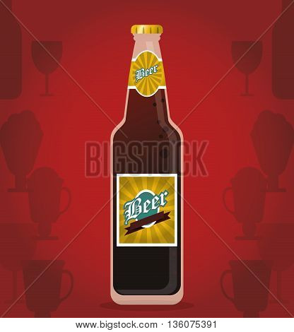 Drink and beverage concept represented by beer bottle icon. Colorfull and flat illustration