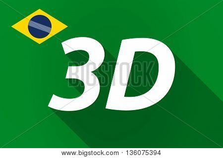 Long Shadow Brazil Flag With    The Text 3D