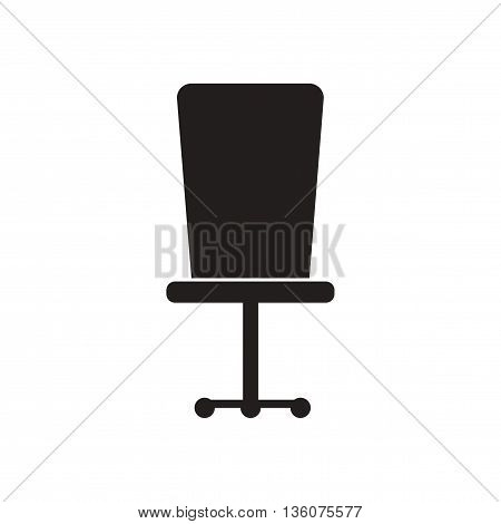 Flat icon in black and white  office chair