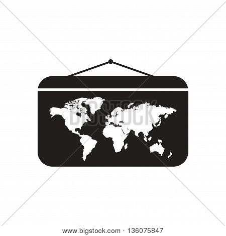 Flat icon in black and white  World map