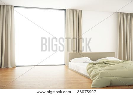 Bedroom interior with unmade bed and blank window with curtains. Mock up 3D Rendering