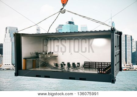 Abstract conference room interior inside cargo container suspended on crane hook on city background. 3D Rendering
