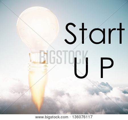 Business start up idea concept with abstract rocket fire lightbulb on sky background. 3D Rendering