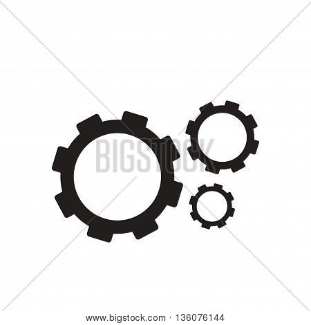 Flat icon in black and white  gears
