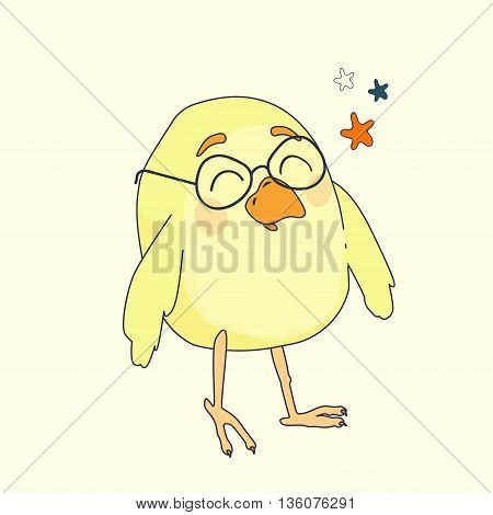 small yellow cartoon bird with glasses vector
