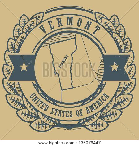 Grunge rubber stamp with name and map of Vermont, USA, vector illustration