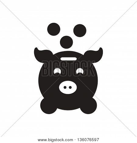 Flat icon in black and white  piggy bank coins