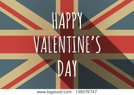 Long Shadow Uk Flag With    The Text Happy Valentines Day