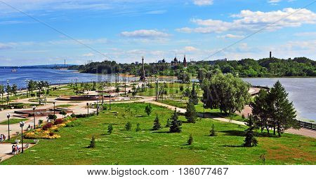 Summer view of Yaroslavl city park Russia
