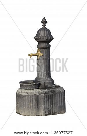 Vintage drinking fountain isolated on white background