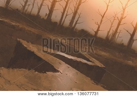 winding road to forest with bare trees, illustration painting