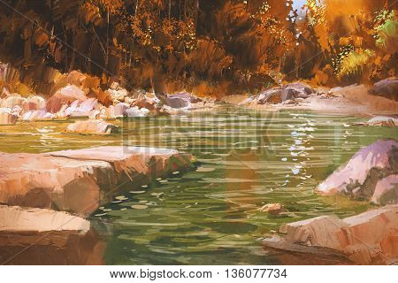 creek in autumn forest, nature, landscape, illustration painting