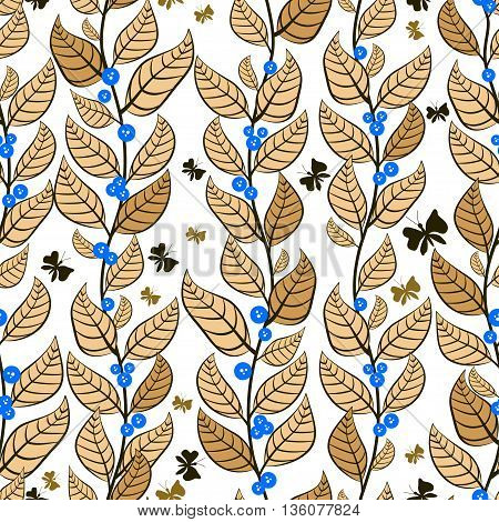 Seamless pattern with gold leaves and blue berries