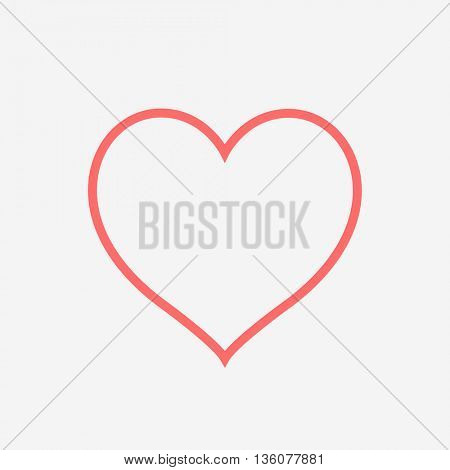 A heart in outline on grey