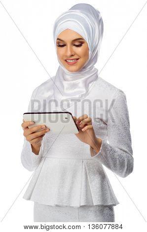 Muslim woman with tablet PC isolated