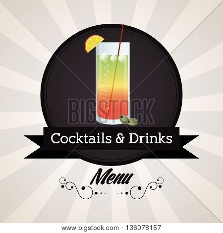 Drink and beverage concept represented by cocktail glass over seal stamp with ribbon icon. Striped background. Colorfull and flat illustration
