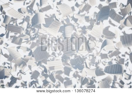 Flying paper sheets with text on light background. 3D Rendering