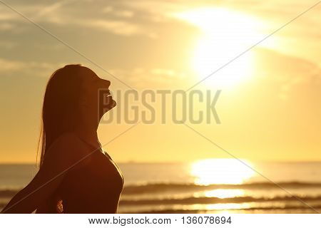 Side view of back light of a woman silhouette breathing deep fresh air at warm sunrise in front of sun