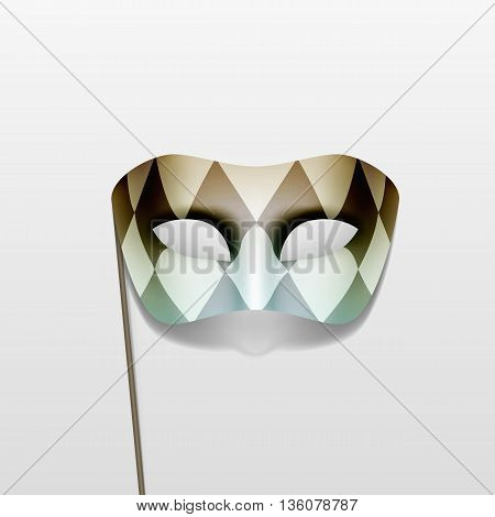 Vector Illustration of Carnival Masquerade Party Mask on a Stick Isolated on White Background