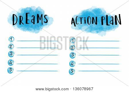 Dreams and action plan strategy for a successful life