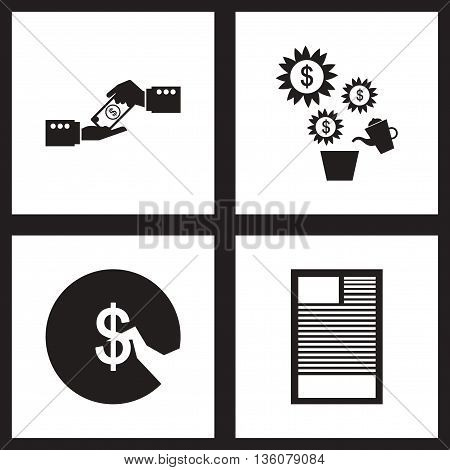 Concept flat icons in black and white  finance