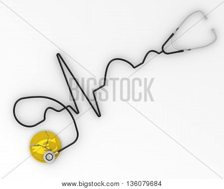 The crisis of the European economy. Cracked coin with the symbol of the European currency and the phonendoscope. Financial concept. Isolated. 3D Illustration