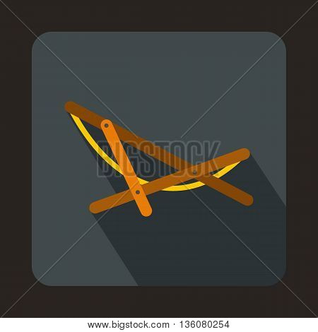 Beach chaise icon in flat style on a gray background