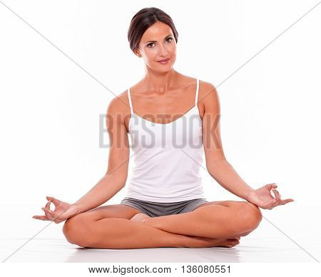 Attractive Smiling Woman With Crossed Legs