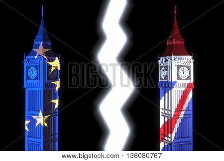 3D-illustration of two towers similar to London's Big Ben one light is lit in the colors of the EU flag and the other - light color of the British flag on a black background and lightning between them - illustration symbolizes the split of British society