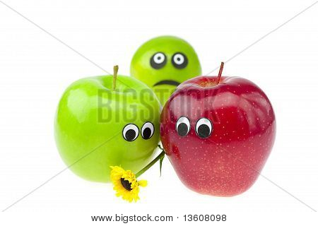 Joke Apple And Lime With Eyes Isolated On White