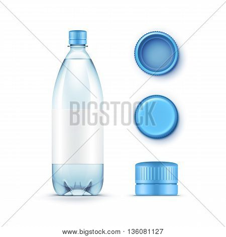 Vector Illustration of Blank Plastic Blue Water Bottle with Set of Caps Isolated on White Background