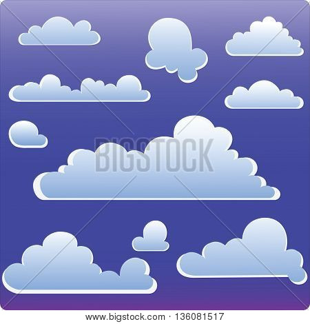 Vector illustration. The evening sky. Stylized silhouettes of clouds for icons, symbols.