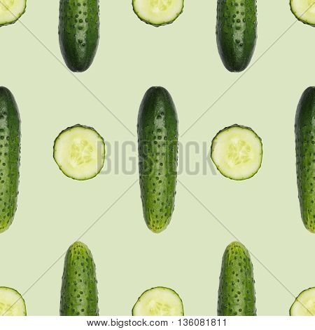 Seamless cucumber pattern. Combine to create endless size image