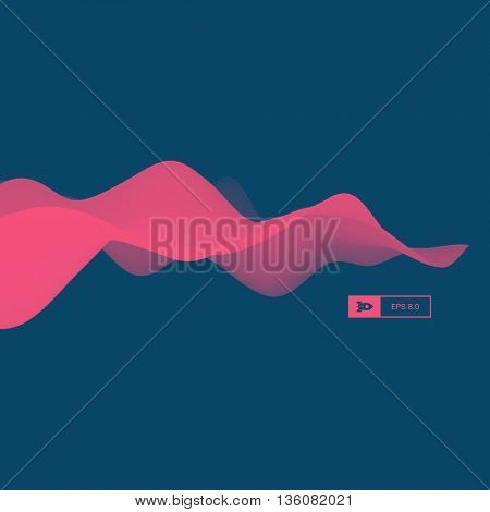 3D Wavy Background. Dynamic Effect. Abstract Vector Illustration. Design Template. Modern Pattern.