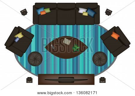Interior icons top view with sofa armchair couch isolated vector illustration. Scene creator realistic sofa set.