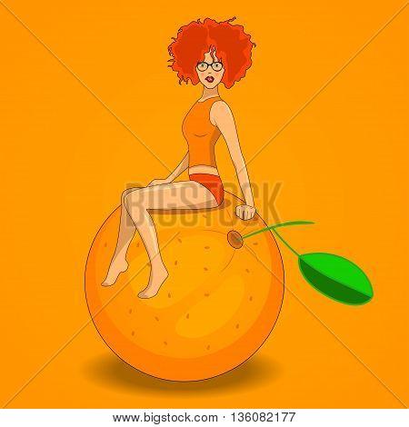 redhead sexy girl sitting on the orange
