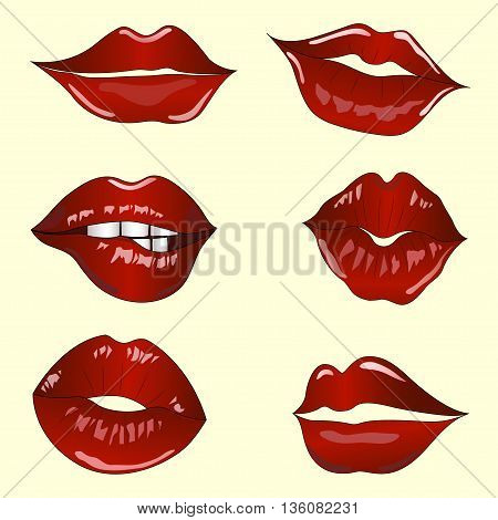 high detailed set of different women lips