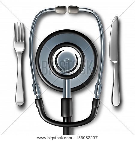 Medical diet and Nutritionist doctor or dietician and dietitian stethoscope shaped as a plate with a knife and fork as a medicine symbol of professional health food nutrition advice concept or hospital food as a 3D illustration.