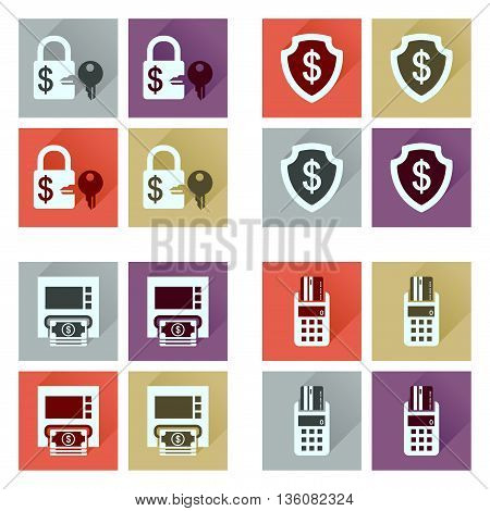 Concept of flat icons with long  shadow finance