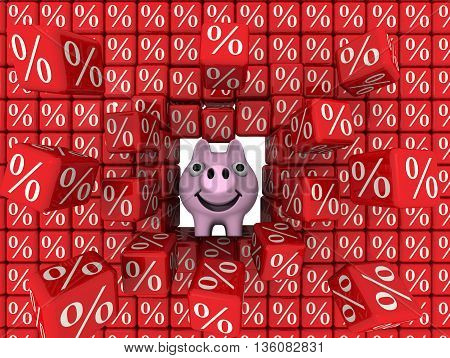 Cheerful pig piggy bank break a wall of red cubes with the percent symbol. Financial concept. Isolated. 3D Illustration