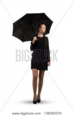 Beautiful business woman holding umbrella isolated on white background