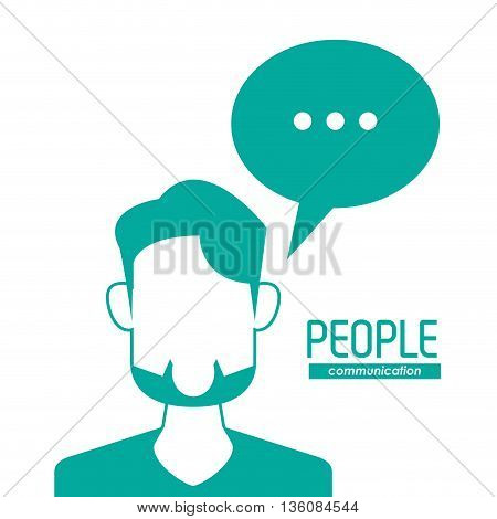 People and Communication concept represented by bubble and man  icon. Isolated and flat illustration