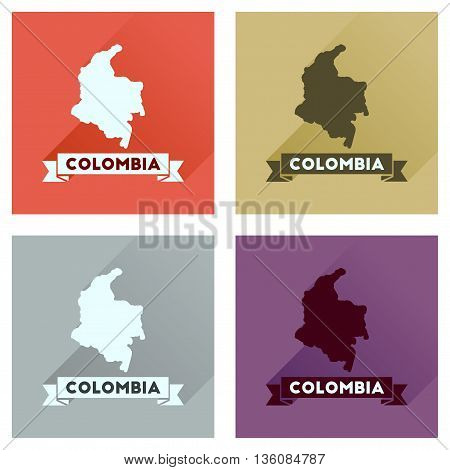 Concept of flat icons with long  shadow Columbia card