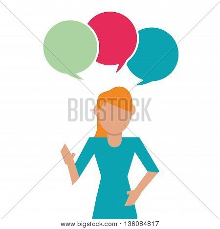 People and Communication concept represented by bubble and woman icon. Isolated and flat illustration