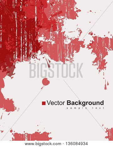 Abstract background with colorful red ink splashes