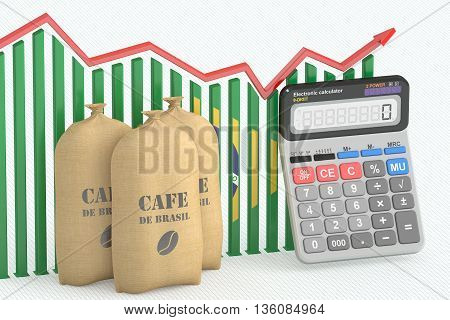 Coffee price and export concept chart with calculator and Brazilian coffee bags. 3D rendering