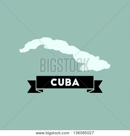 Flat icon with long  shadow map of Cuba
